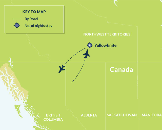 Map Of Canada Yellowknife.5 Day Yellowknife Aurora Borealis Viewing Anderson Group Tours